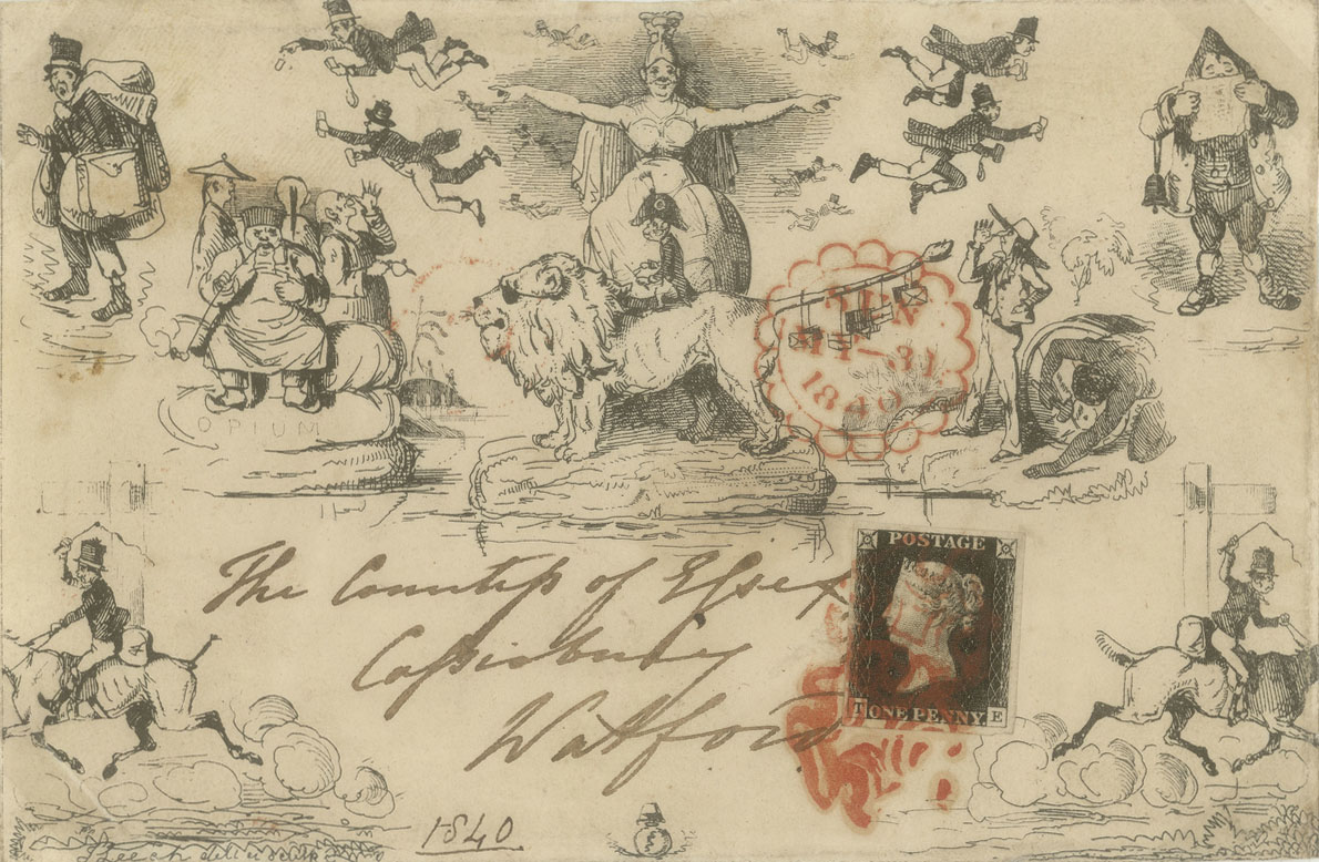 Envelope depicting Britannia in the middle with people from different countries to her left and right. Many of the other characters are delivering post.
