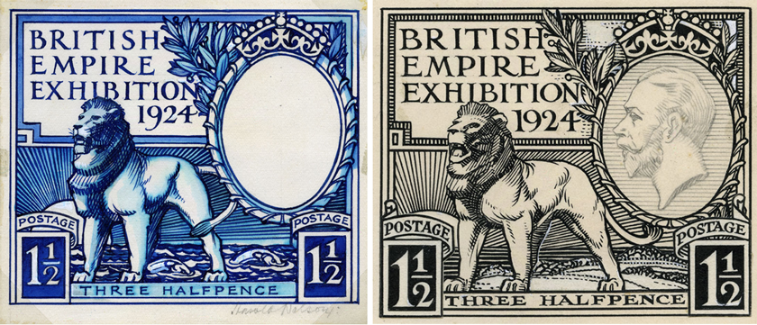 Left is a blue illustration of a lion standing in the sea, whereas on the right the black and white image places the lion on land.