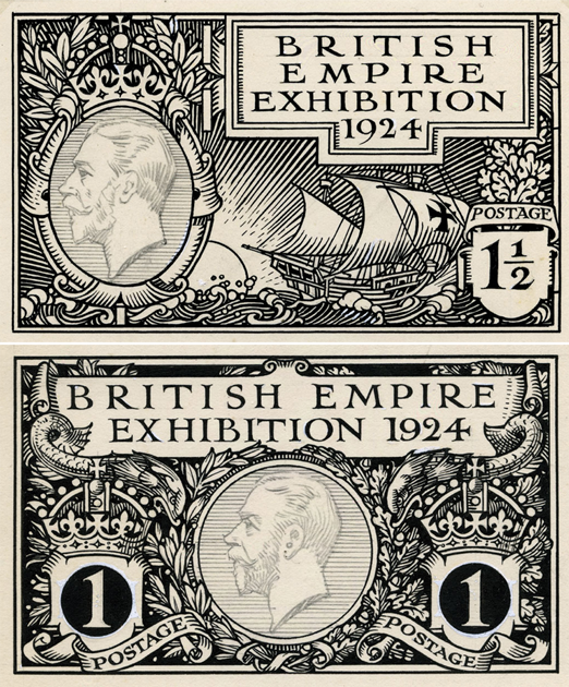 Two black and white designs, one featuring boats and the other dolphins with the profile of King George V in a ring.