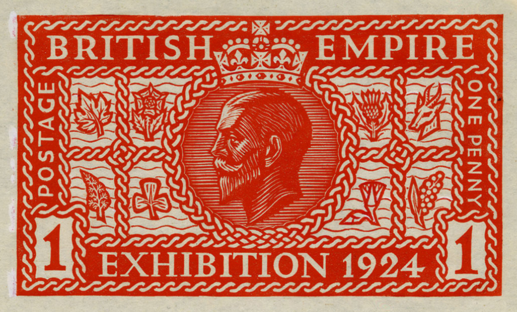 A red print of Rooke's design featuring entwined rope, symbols of the Colonies and a portrait of King George V in a circle.