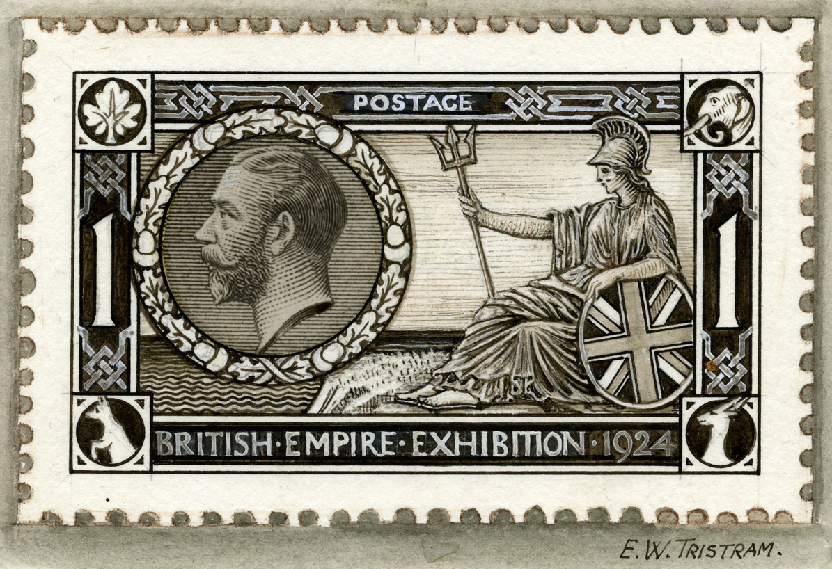 Black and white illustration of Britannia holding a shield and trident and a portrait of King George V in a circle.
