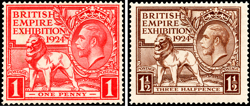 Two stamps depicting the lion design in red for the one penny value and in brown for the three halfpenny values.