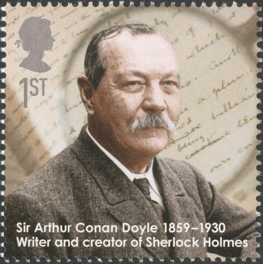 Stamp depicting the portrait of Sir Arthur Conan Doyle with written text in the background.