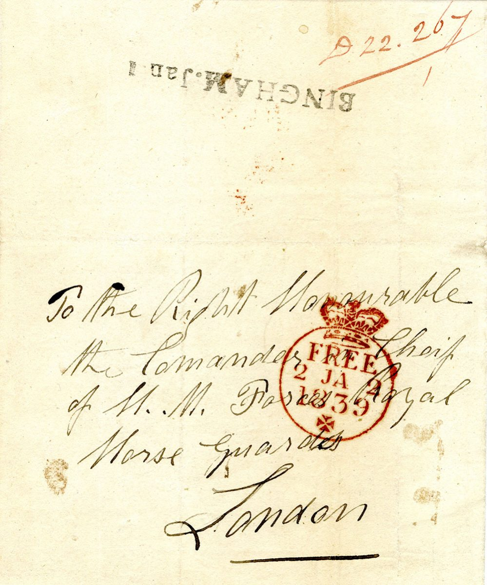 A handwritten letter dating from 1839, showing a red free frank stamp on it.