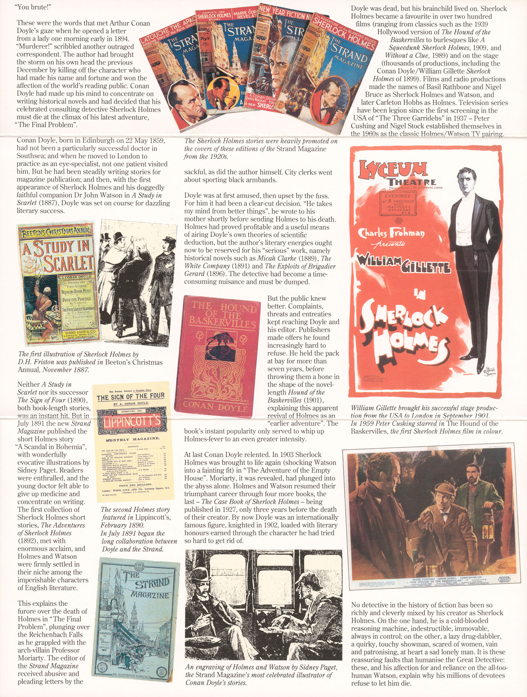 Images and text from the inside of the Sherlock Holmes presentation pack.