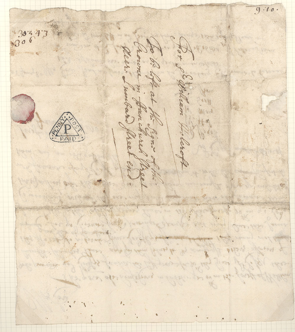 A handwritten letter from 1681 with a black handstamp showing 'Penny Post Paid'.