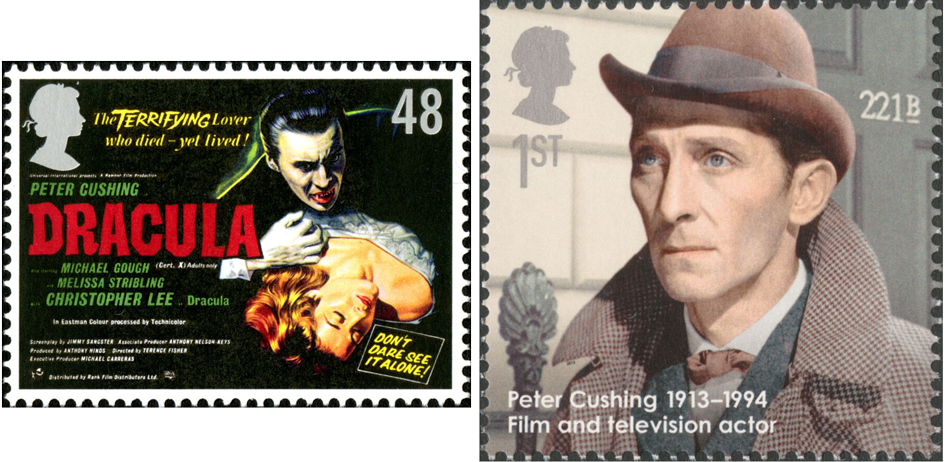 Two stamps depicting the actors Christopher Lee and Peter Cushing who have both played Holmes.