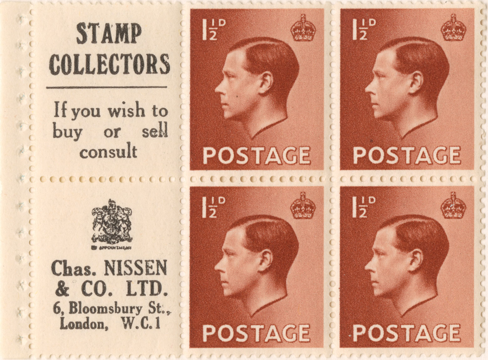 Image of four stamp and two labels of advertising from within a King Edward VIII stamp booklet.