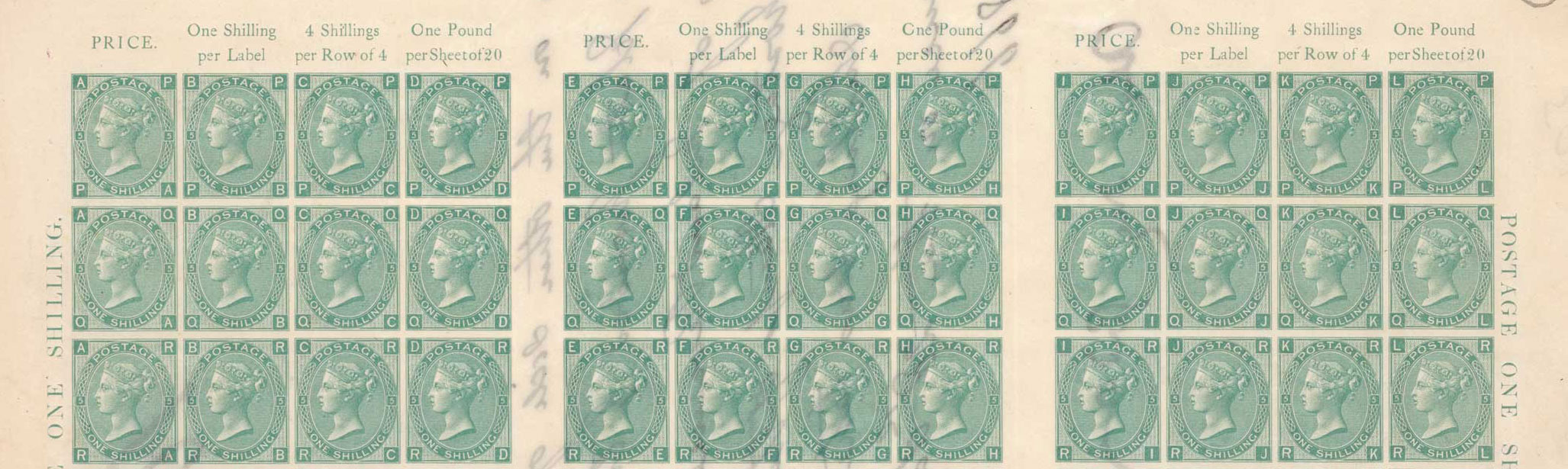 Close up image of three lines from the sheet of one shilling green stamps.