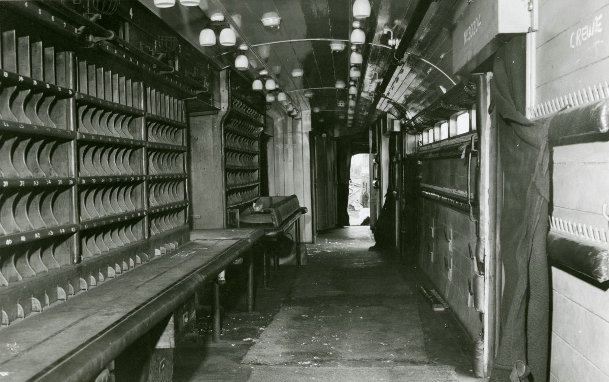 Black and white photograph of the inside of the Great Train robbery TPO carriage.