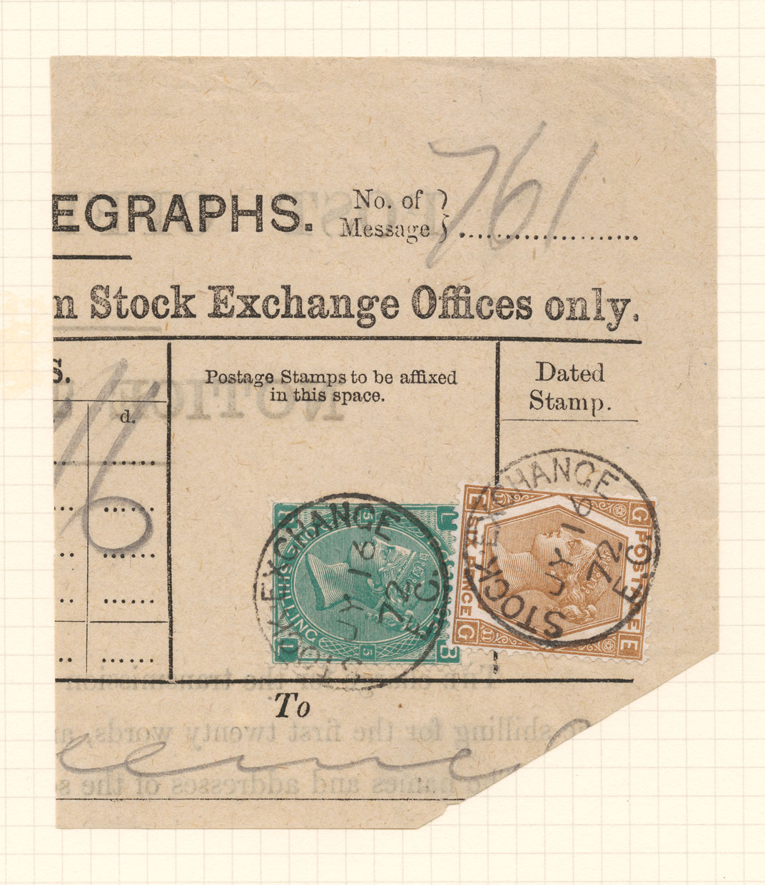 A telegram with a fake green one shilling stamp and a genuine six pence stamp affixed.