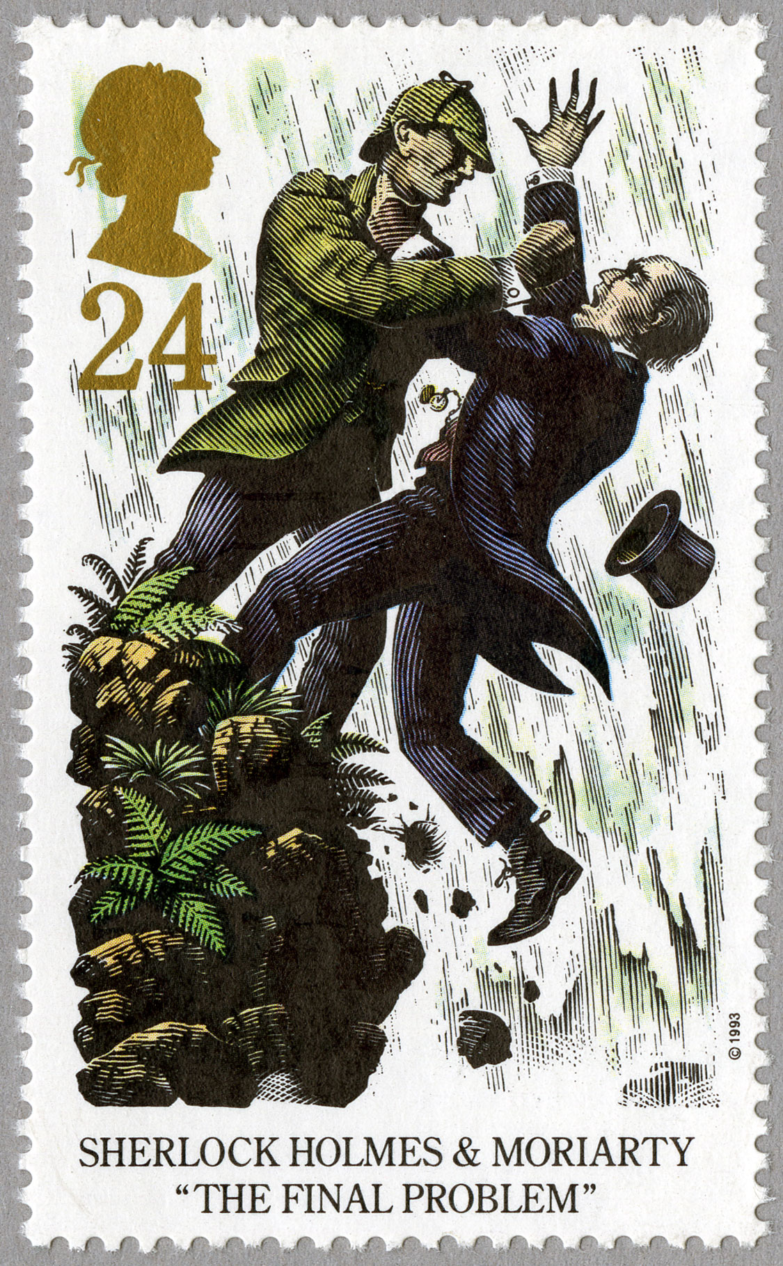 Stamp illustrating two men fighting as one falls over a cliff.