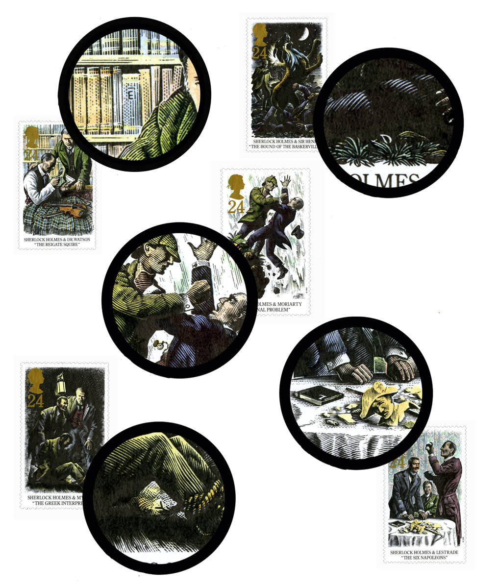 Images of the Sherlock stamps accompanied by blown up section showing where the hidden letters are.