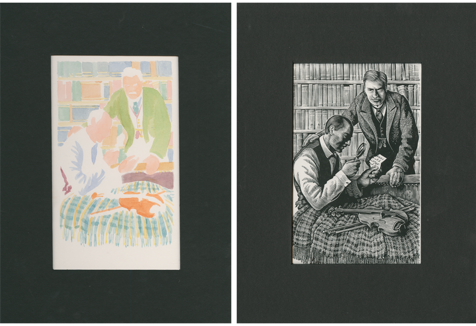 Two pieces of artwork depicting the block colours used and the detailed engraving of the final stamp designs.