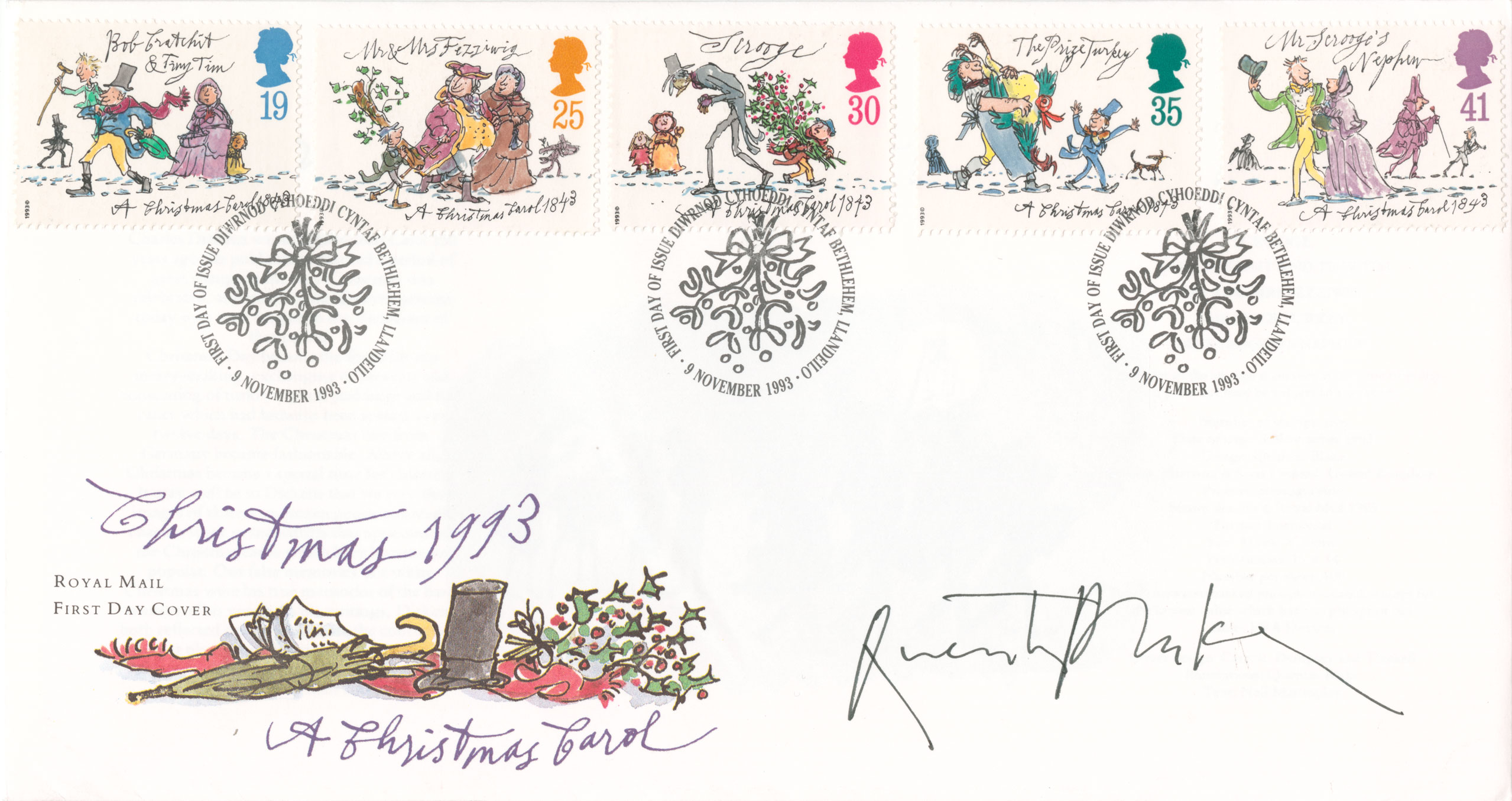 First day cover with the five issued stamp and an illustration of a hat and umbrella.