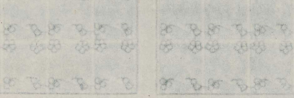 Image of the reverse of the sheet with flowers in each corner.