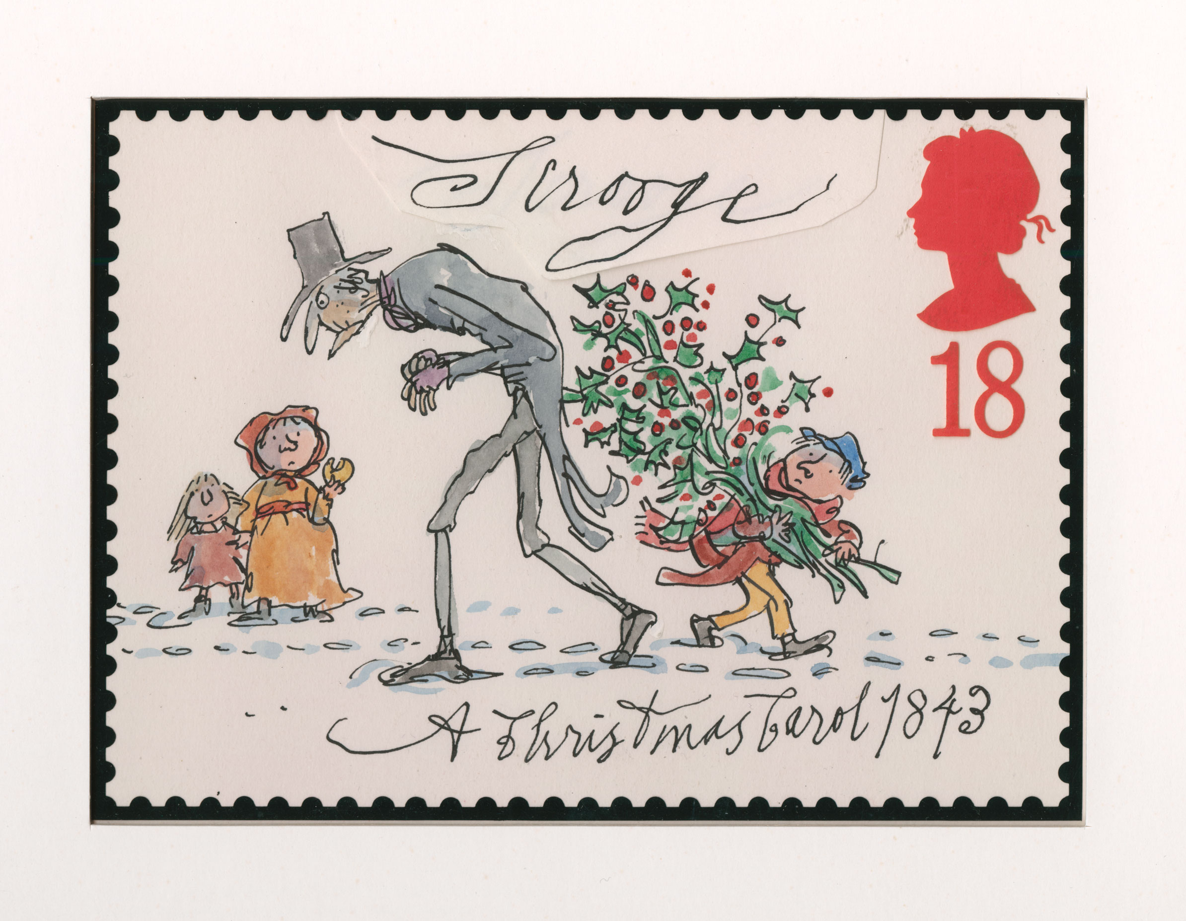 Illustration of a old man hunched over with a boy carrying holly in the background.