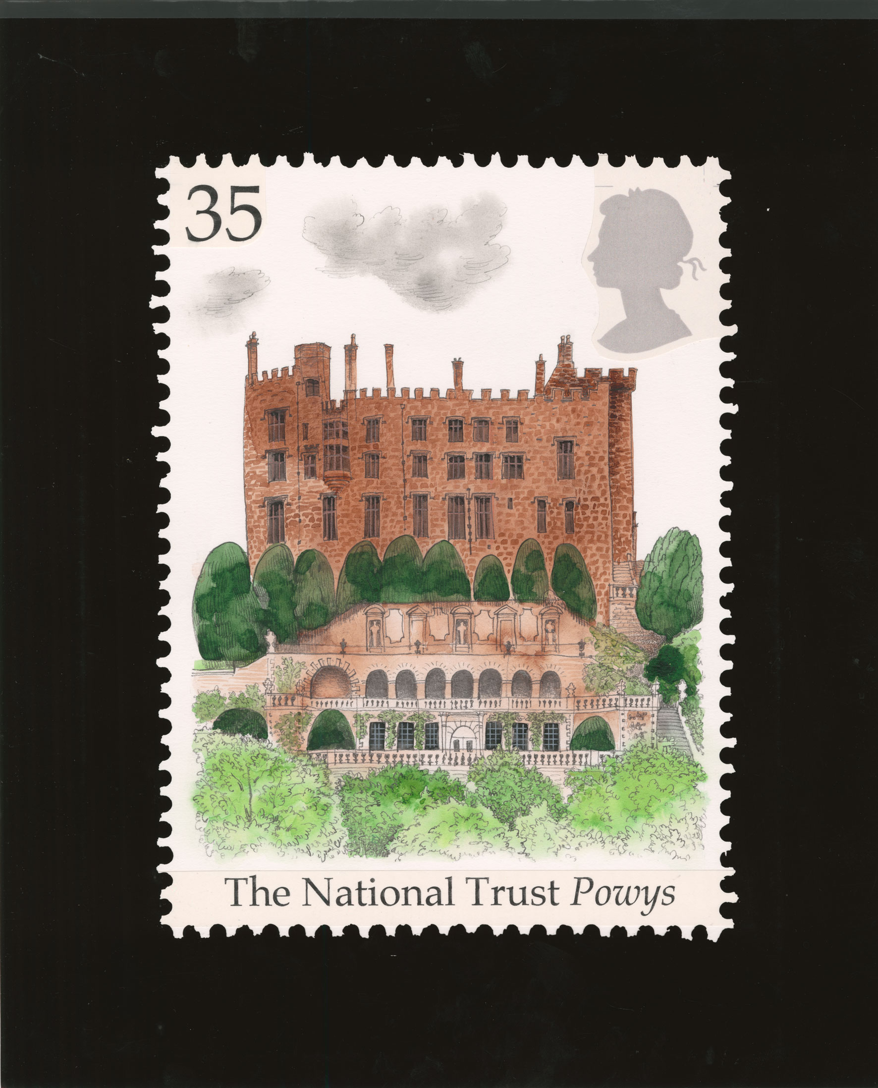 Stamp depicting a castle surrounded by trees and bushes.