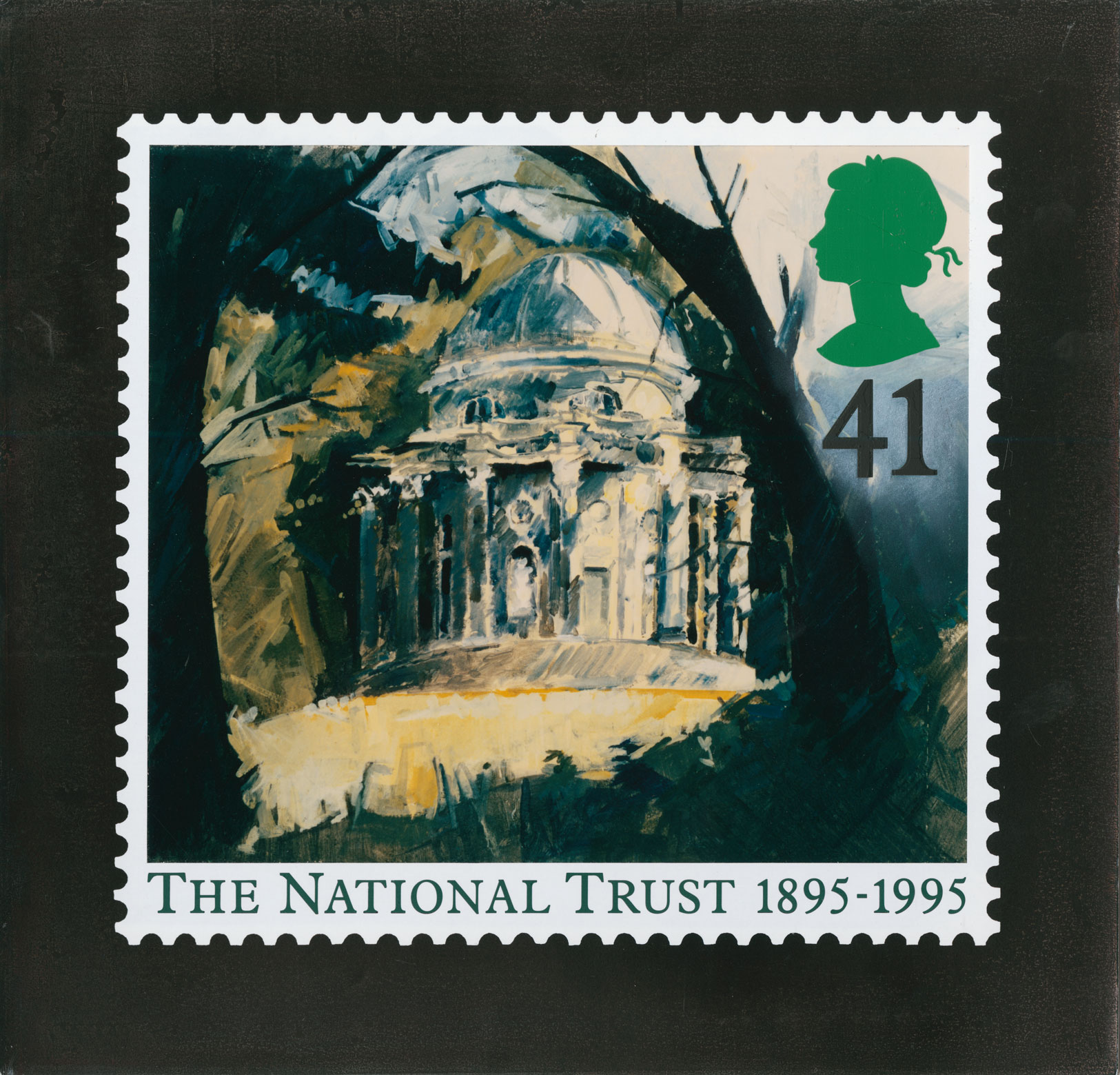 41p stamp that depicts a painting of the temple in the ground of Stourhead with caption and perforation surround.