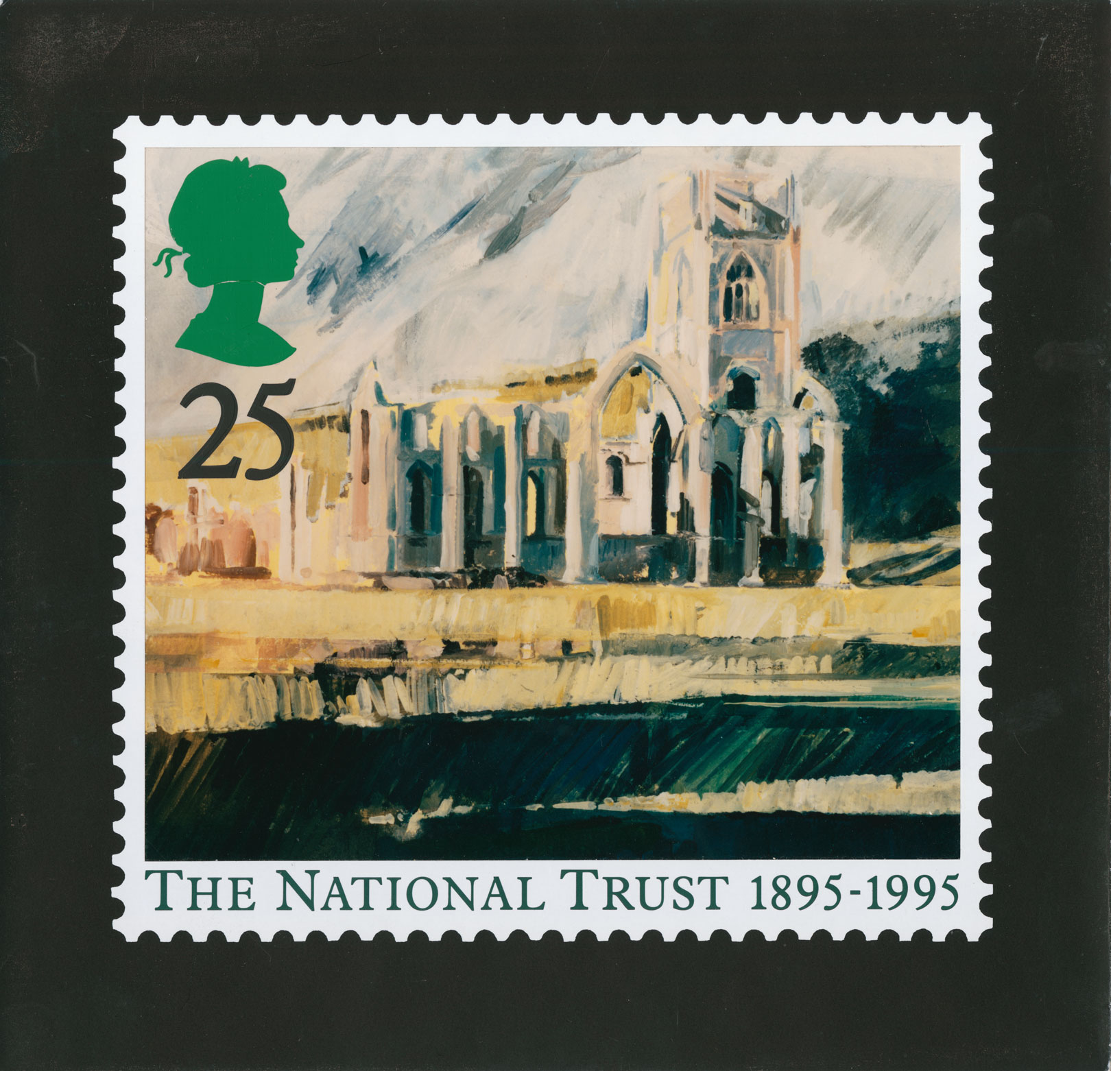 25p stamp depicting a painting of the abbey with caption and perforation surround.