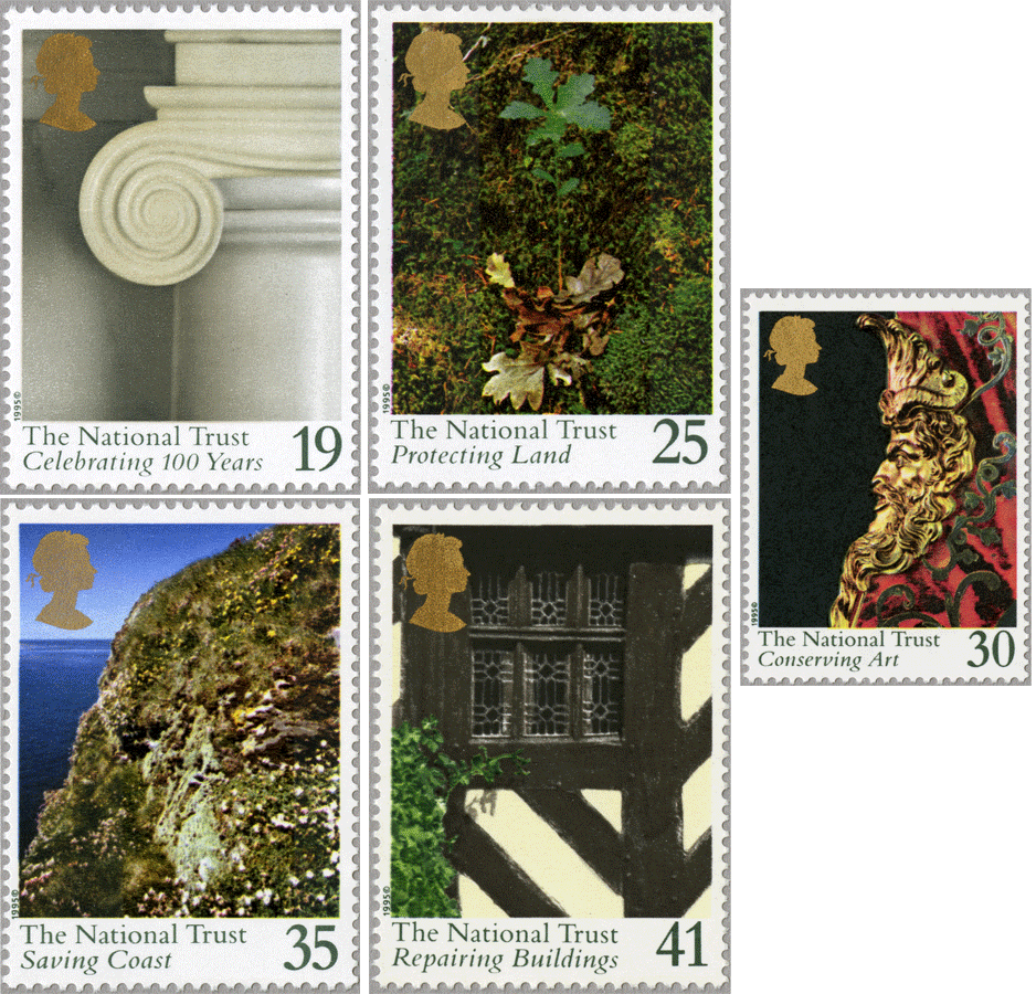 A set of 5 stamps depicting close-up photographs of features to National Trust properties.