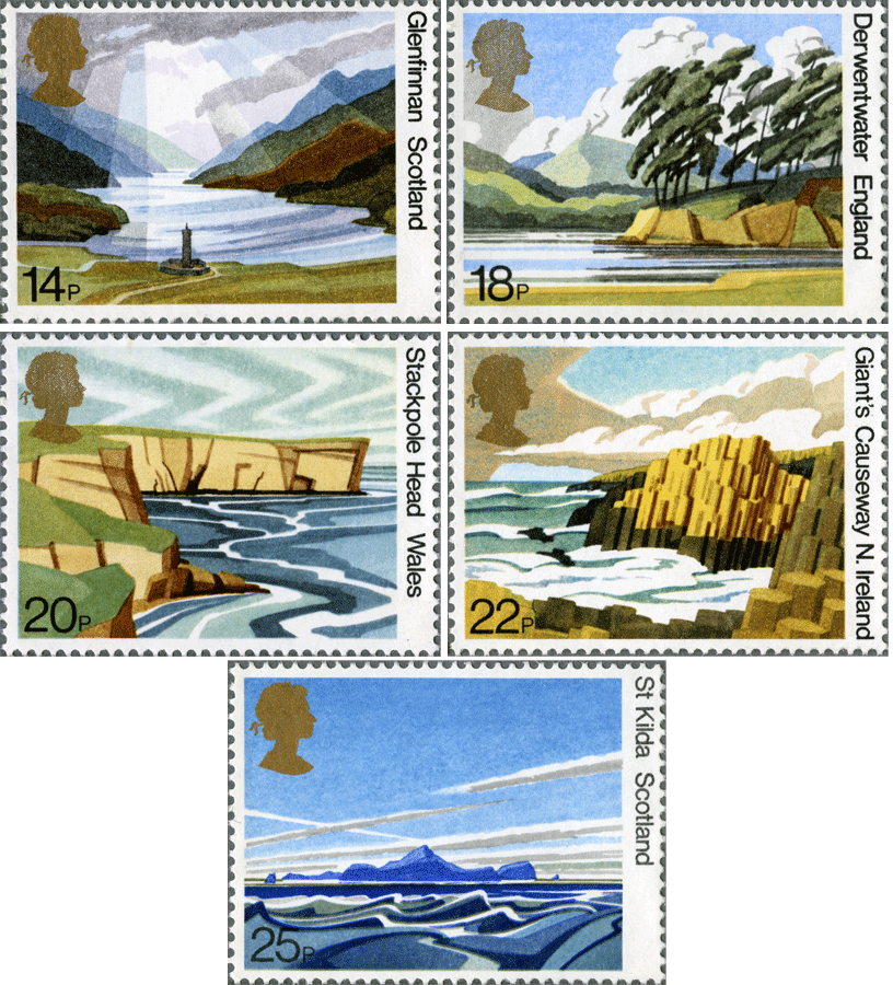 Image of 5 stamps depicting different landscapes from around Britain.