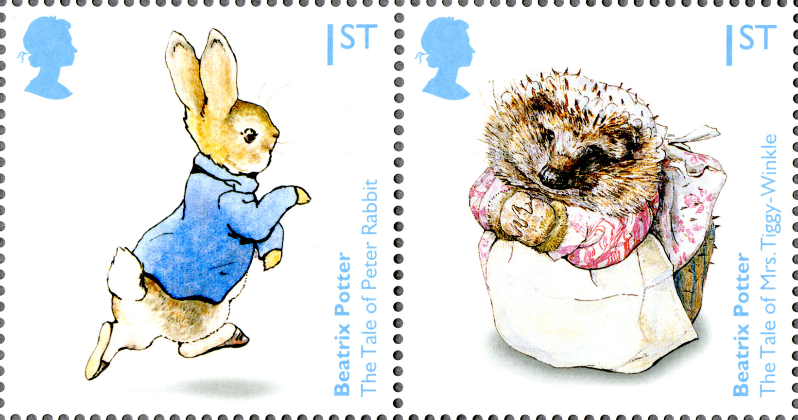 Two stamps depicting illustration of characters from children's books by Beatrix Potter.
