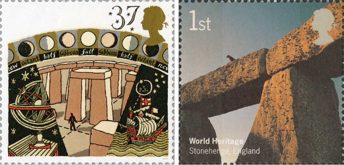Two stamps depicting stonehenge. On the left is an illustrative version with moons and on the right a photographic close-up image of the stones.