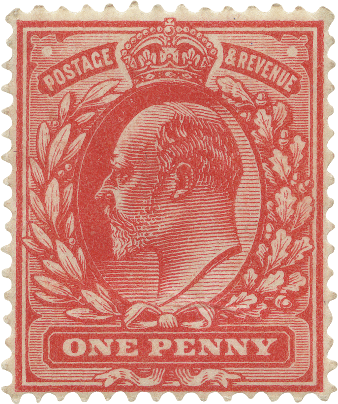 Red stamp featuring the profile of King Edward VII with surrounding foliage.