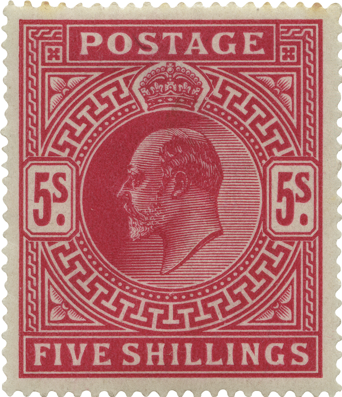 Pink stamp featuring the profile of King Edward VII and geometric patterns.