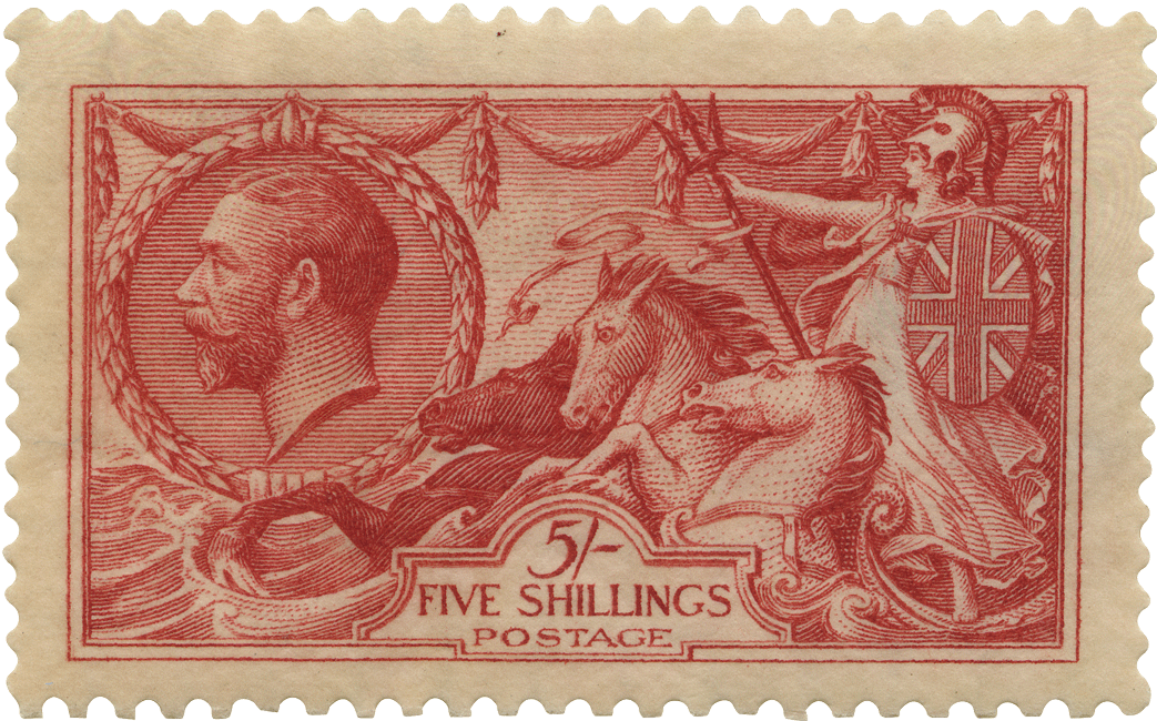 Pink stamp featuring Britannia riding the waves with a profile of King George V.