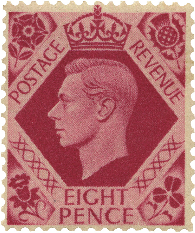 Pink stamp featuring a profile of King George VI in a hexagon.