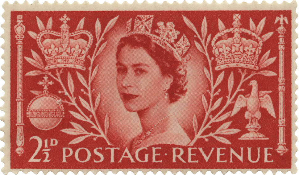 A red stamp depicting the Wilding portrait adorned with orb and sceptre.
