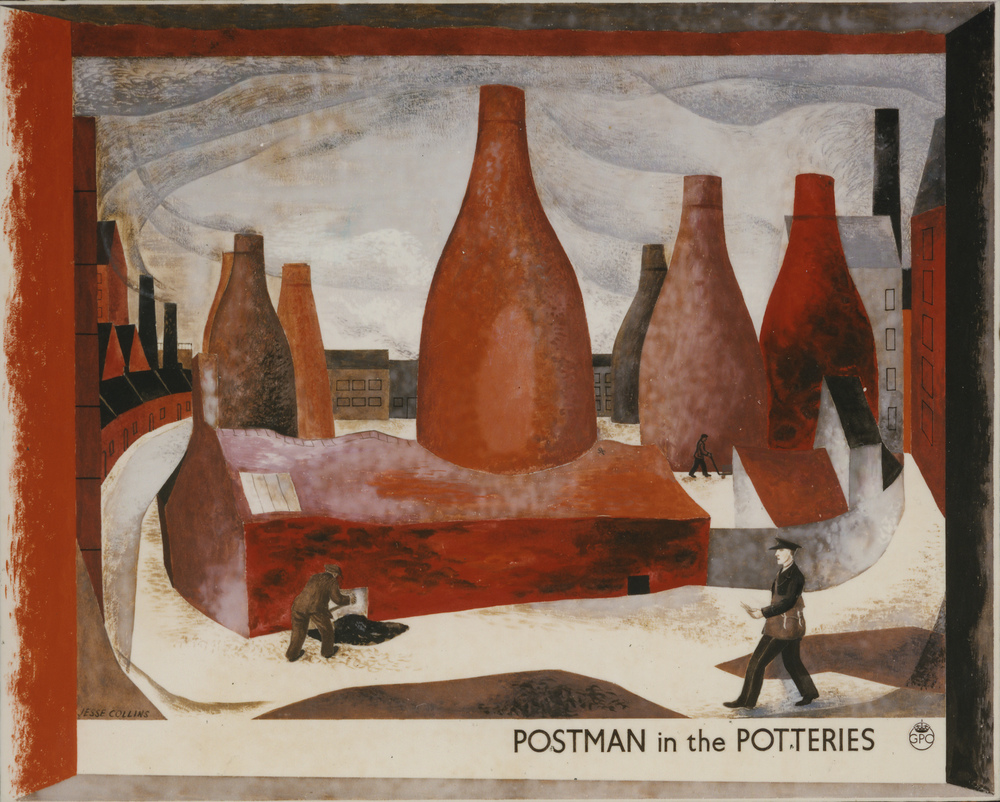 A painting of an industrial scene with a postman.