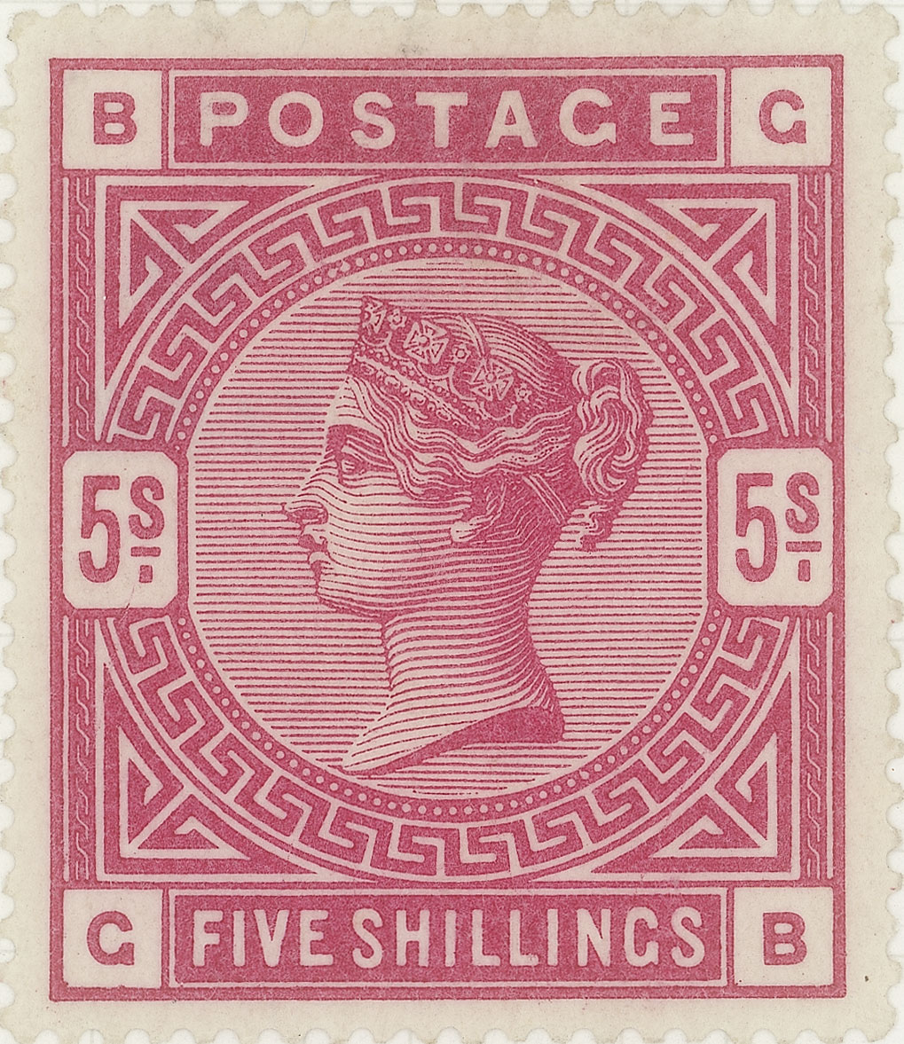 A pink stamp feature the profile of Queen Victoria and geometric patterns.