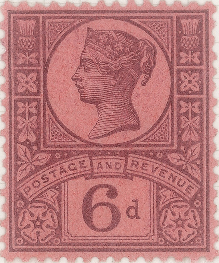 An all pink stamp featuring the profile of Queen Victoria along with flowers and leaves.