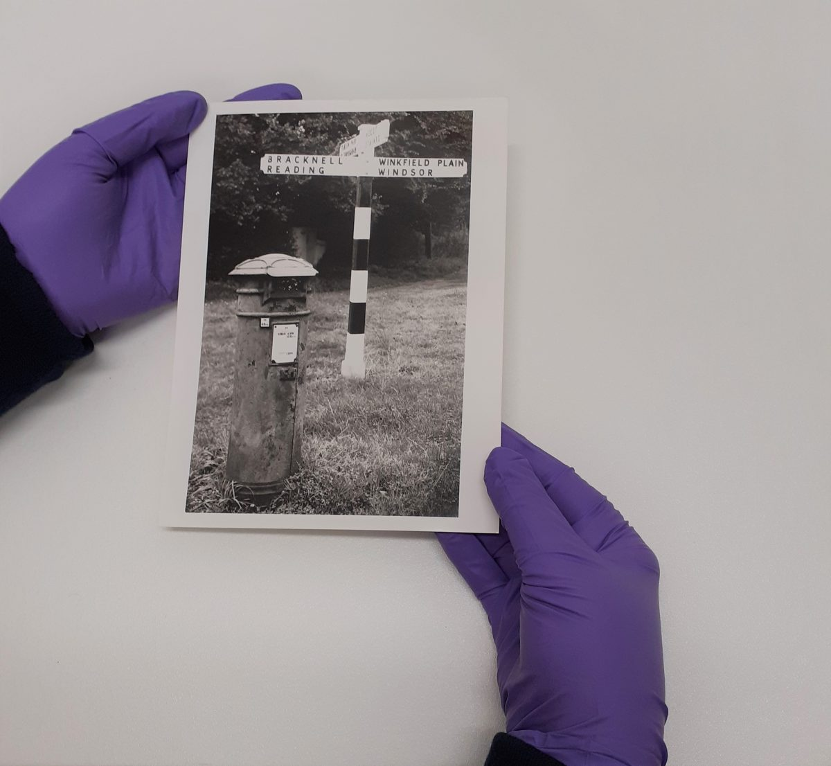a black and white photograph of a pillar box and sign post is held in two hands wearing purple nitrile gloves. One hand is on the left hand edge, the other holds the bottom right hand corner