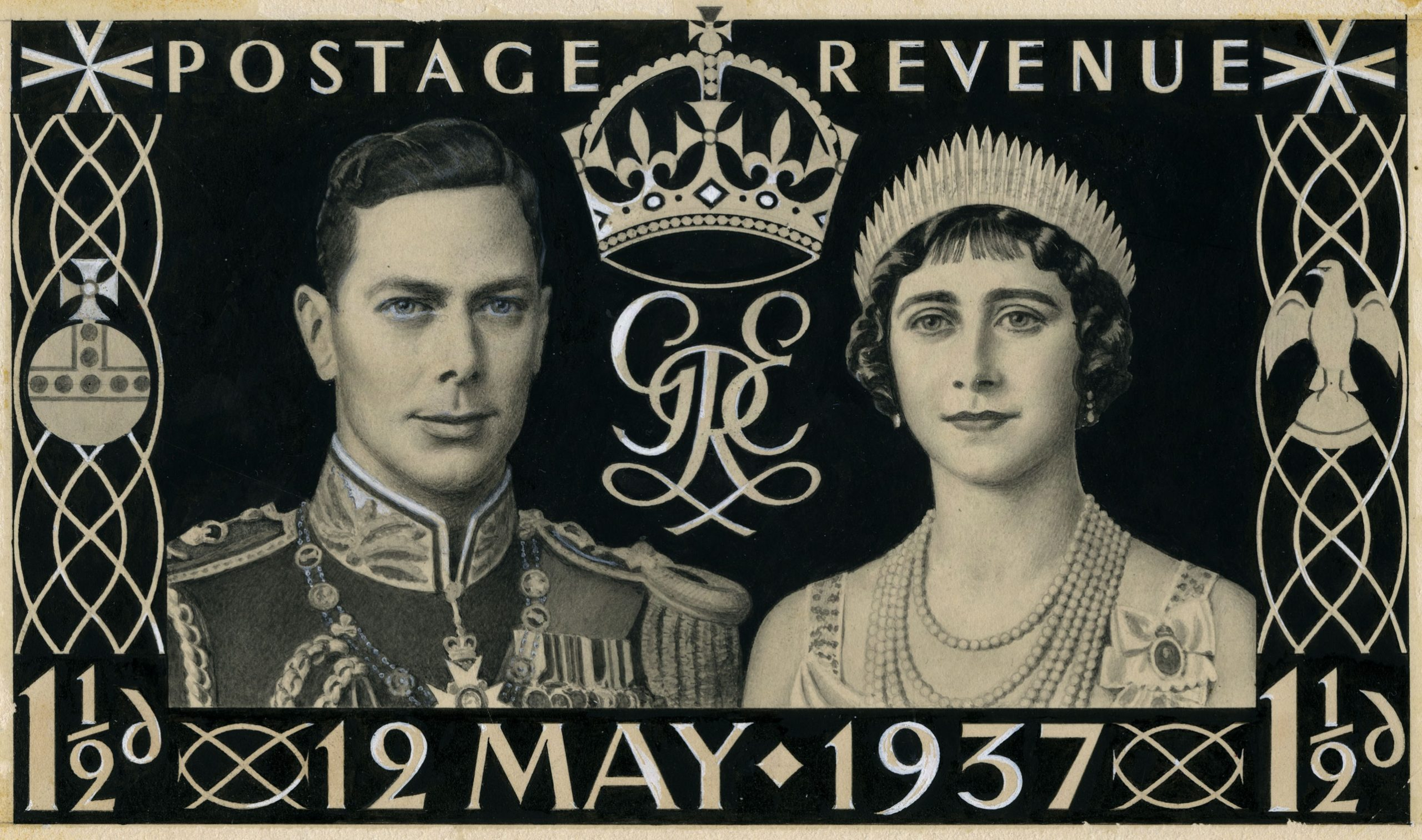 Stamp design featuring drawings of the royal couple surrounded by the text 'Postage Revenue', the stamp value and the date '12 May 1937'.