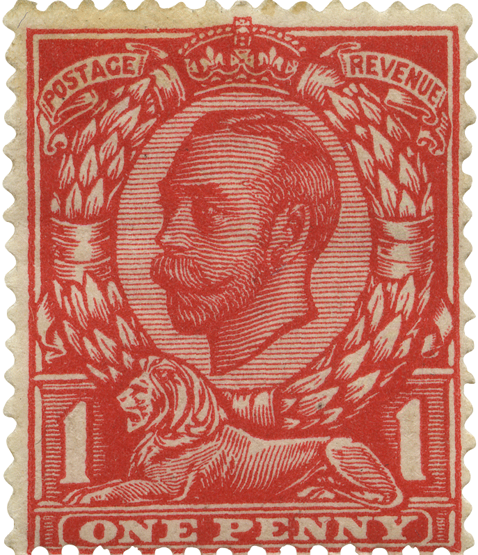 Red stamp featuring the three-quarter profile of King George V and the lion.