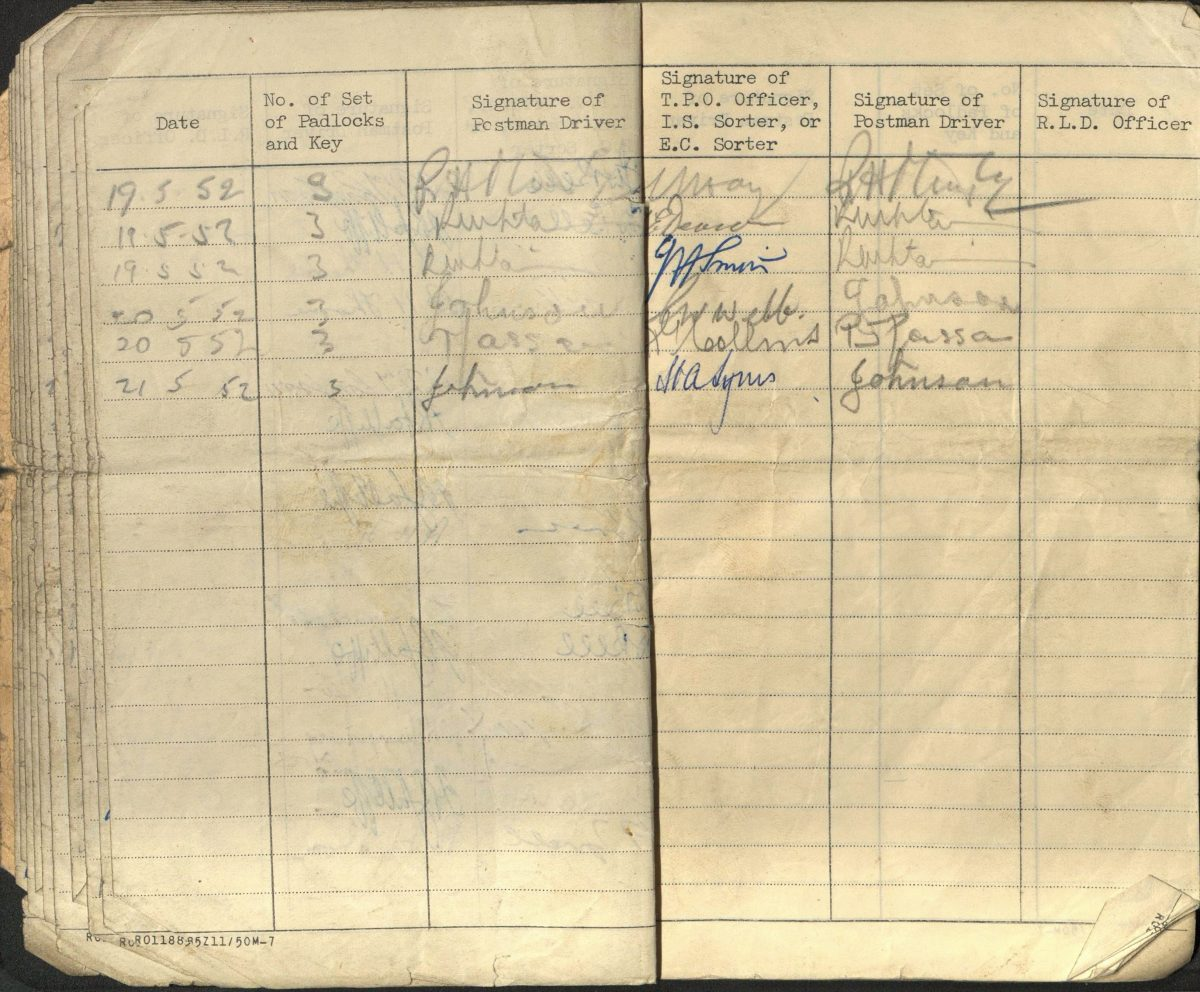 small exercise book with columns showing date, number of padlock or keys, and signatures of staff. The last entry is 21 May 1952
