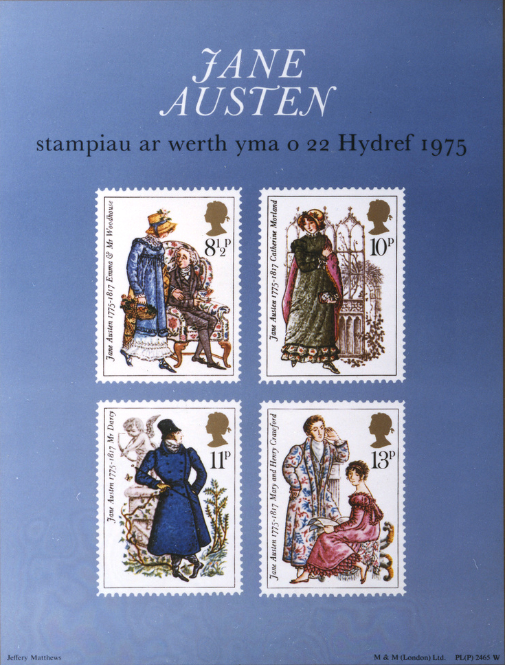 Poster advertising a special stamp issue based on Jane Austen's literary characters, featuring: Emma and Mr Woodhouse ('Emma'), Catherine Morland ('Northanger Abbey'), Mr Darcy ('Pride and Prejudice') and Mary and Henry Crawford ('Mansfield Park').