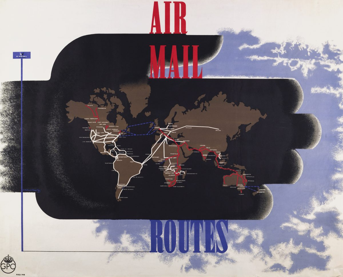 Poster showing worldwide airmail routes.
