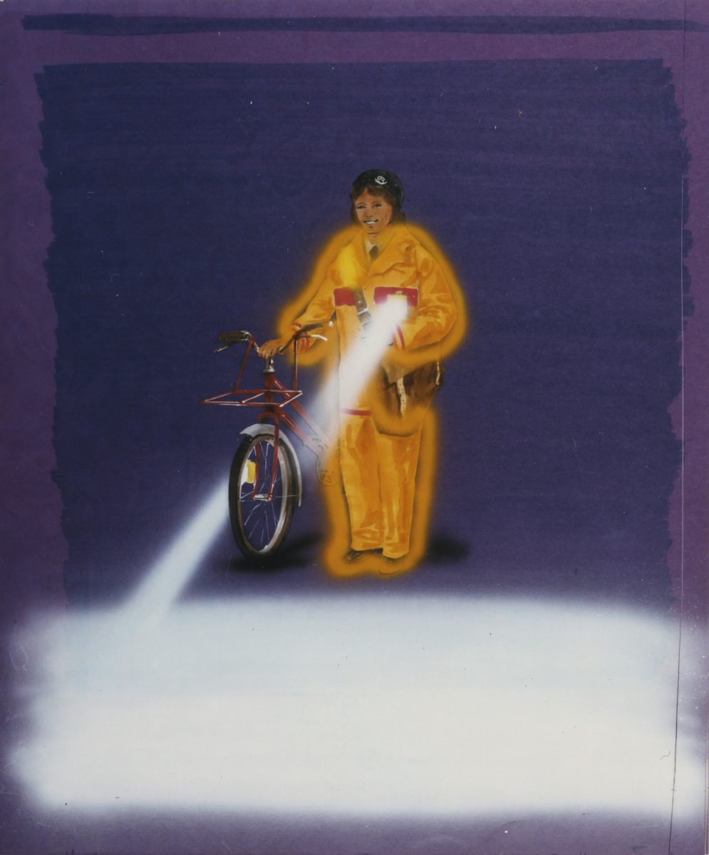 Artwork for a poster showing a postal worker with a bicycle in high vis clothing with a light.