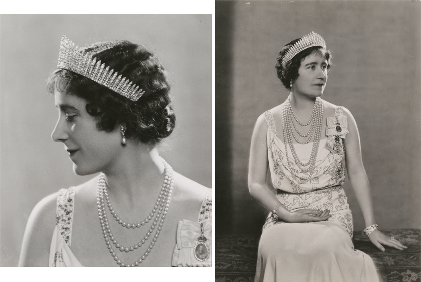 Two black and white images of Queen Elizabeth at different angles wearing a tiara and pearls.