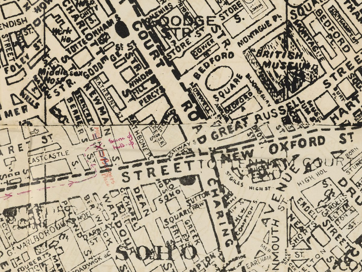 Street map of the central London area with red biro markings indicating the location of the robbery