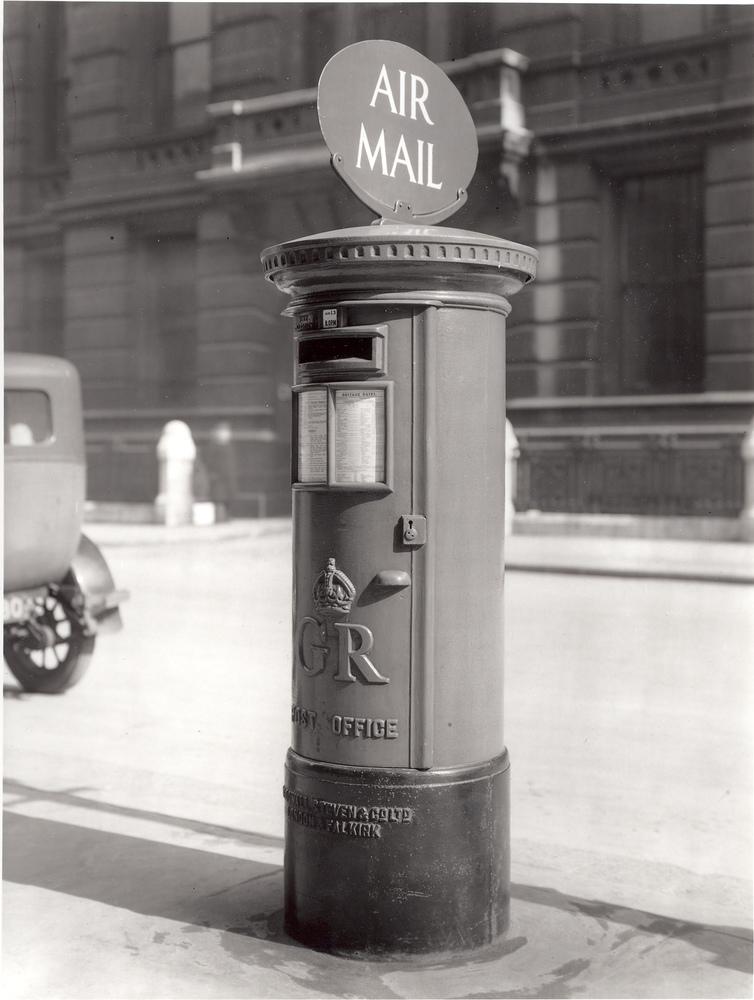 1934 Air Mail pillar box. Air Mail pillar box in street.