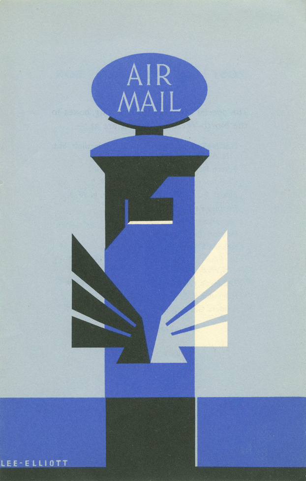 Poster of a blue air mail pillar box, by Lee Elliott.