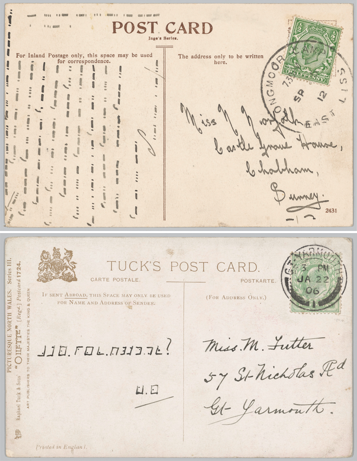 Two examples of cryptic messages on postcards.