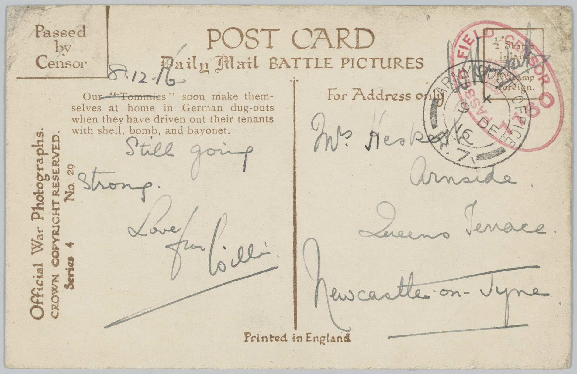 A postcard with the date 8.12.16 written above the message.