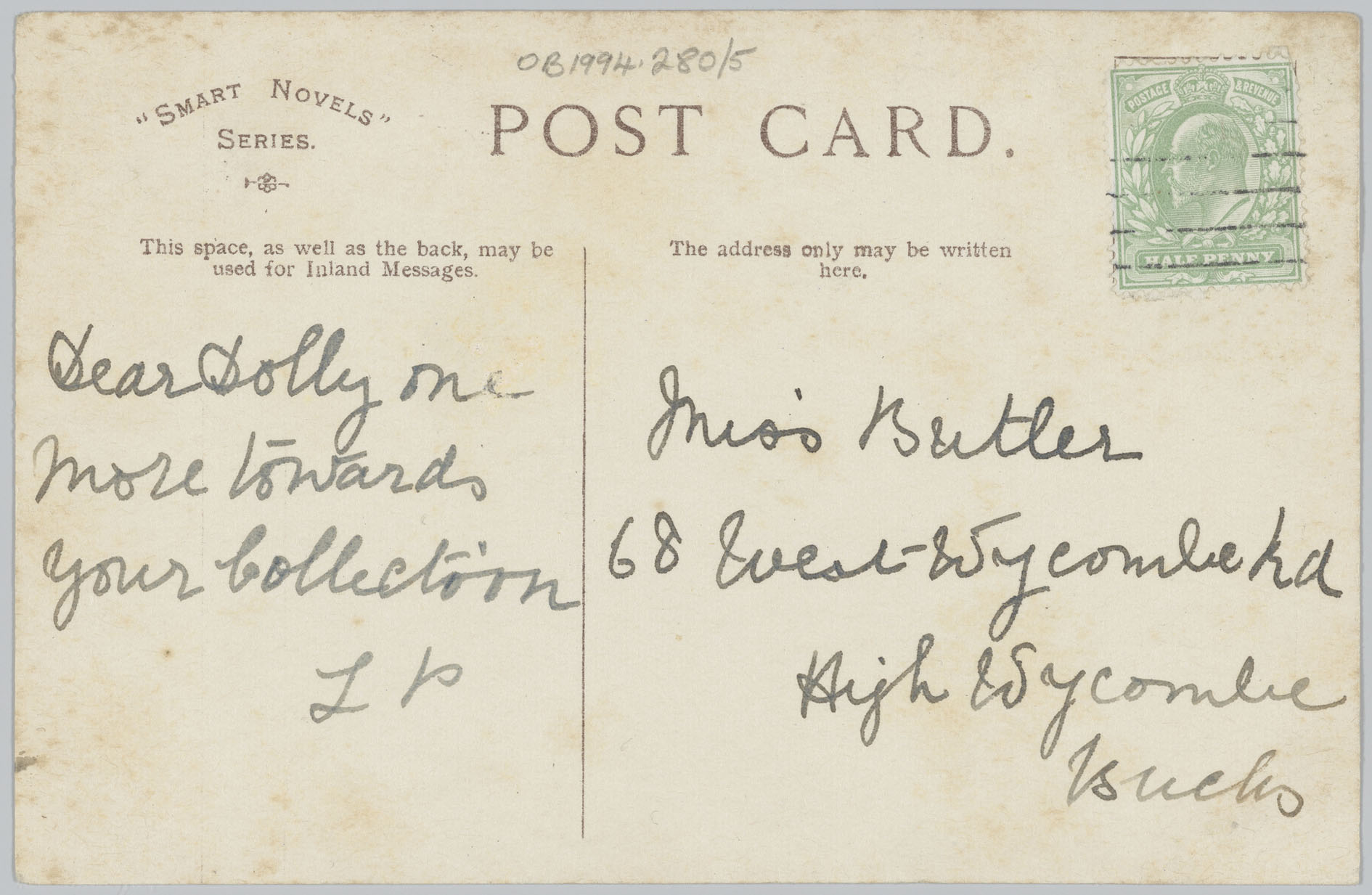 Image of the reverse of a postcard with the message and address separated by a vertical line.